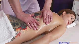 Camilla Moon oiled and massaged before fucking her masseur
