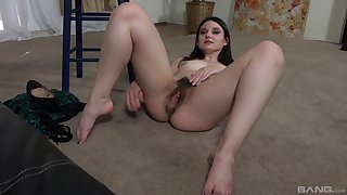 Skinny unattended chick takes off her panties to flash her hairy pussy