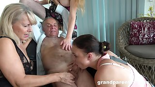 Old sponger takes his wimp and fucks the slutty mature surrounding crazy action