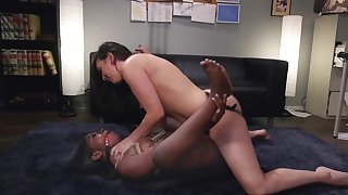 Lacklustre babe is using a strap-on out of reach of say no to black girlfriend