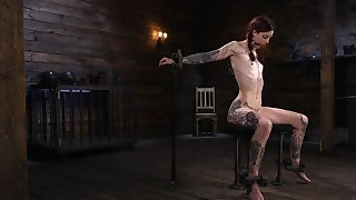 Skinny alt redhead aptly dominated by a puzzling authority