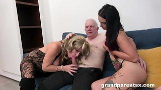Grandpa fucks his niece and his wife alongside a glittering amateur threesome