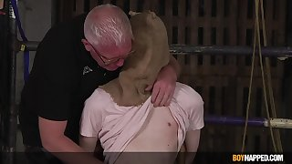 Old man ass fucks sporadic out of order twink in dirty BDSM game