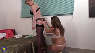 Mature threesome with two exquisite MILF babes Audrey and Helga