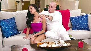 Small tits owner Vina Sky is poked from behind by her aroused stud