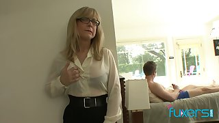 Grown up fake tittied stepmom plugged up her stepson jerking gone hard big cock