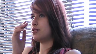Redhead solo parcel out teen with natural tits smoking heavily