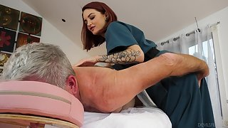 Cute masseuse Lola Fae rides turned on older client in cowgirl pose