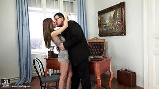 Old headmaster licks and fucks yummy pussy of slutty student Alice Romain