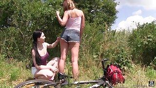 Charming lesbian Lexi Ripple enjoys having sex fun with twosome stranger girl